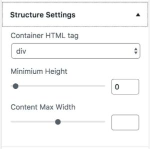 Structure Settings