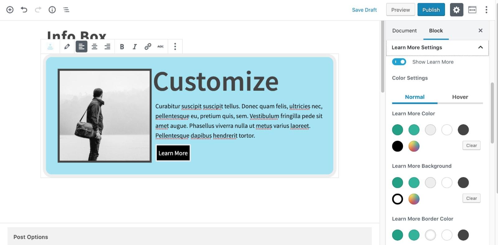 Configure a Learn More Button