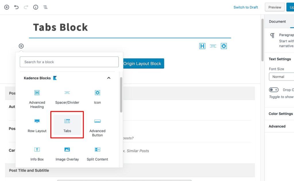 Select Tabs Block