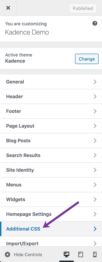 Additional CSS section in WordPress Customizer
