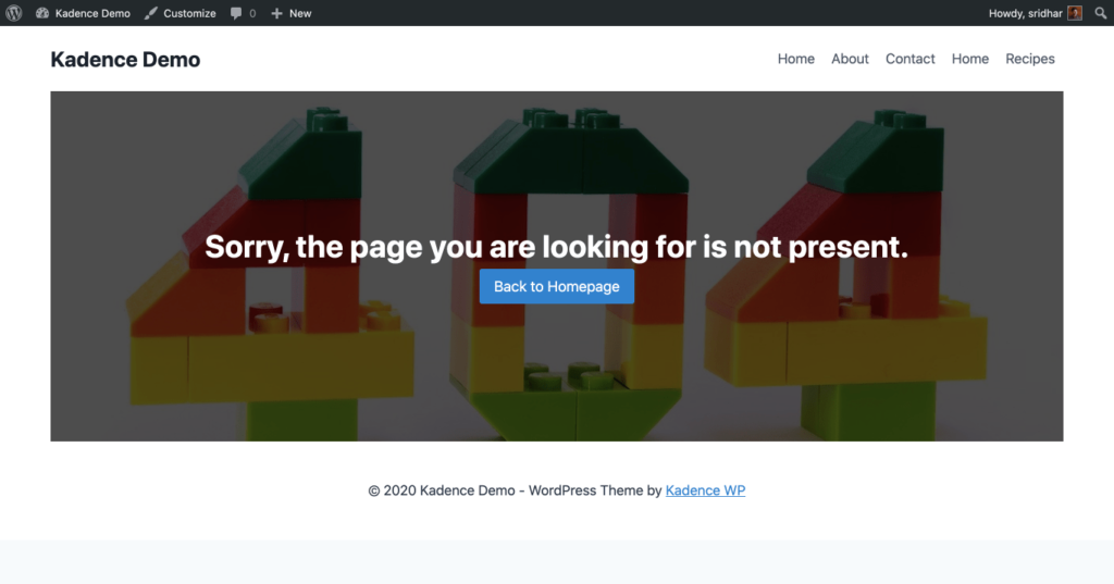 Sample 404 page in Kadence