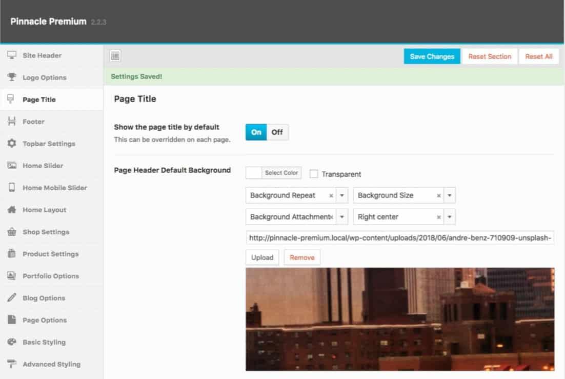 Pinnacle Theme Page Header Background Default