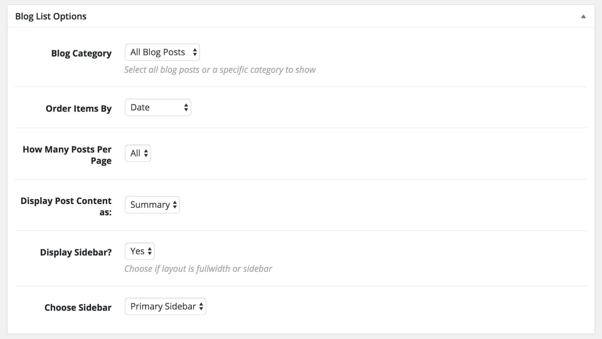 Blog List Options