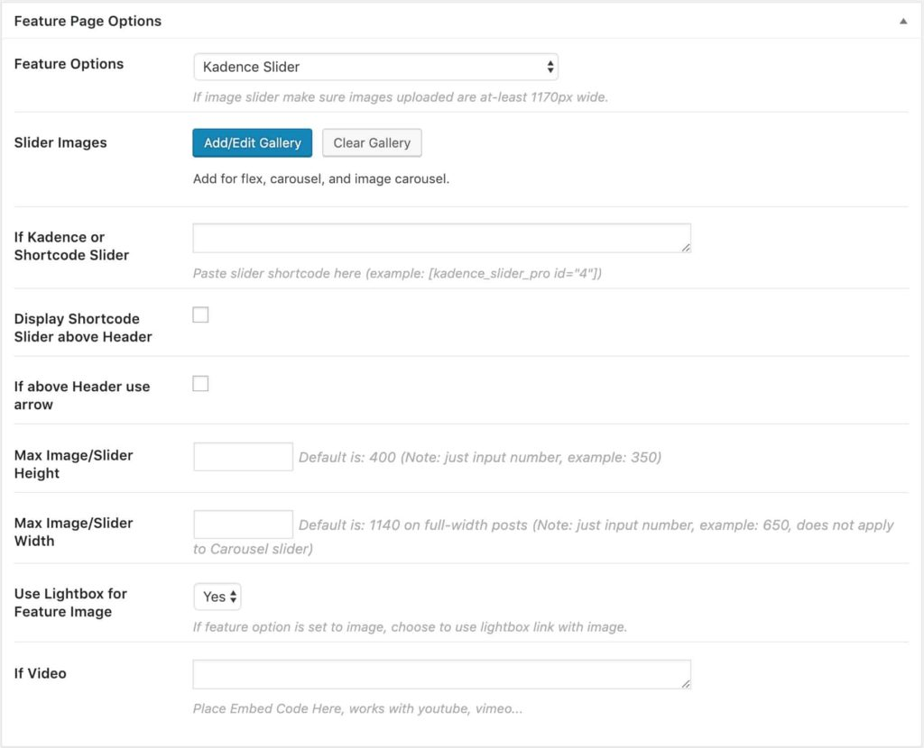 Feature Page Options