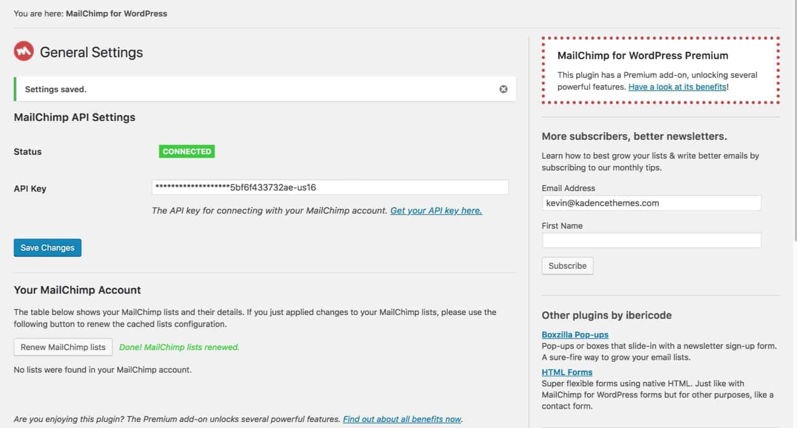 Add API to MailChimp For WordPress