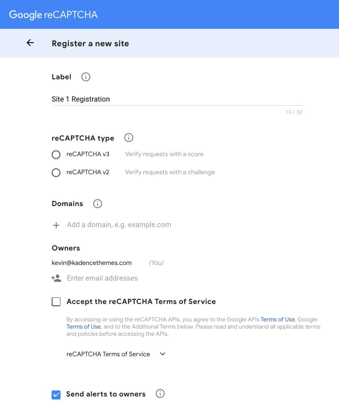 Register New Site