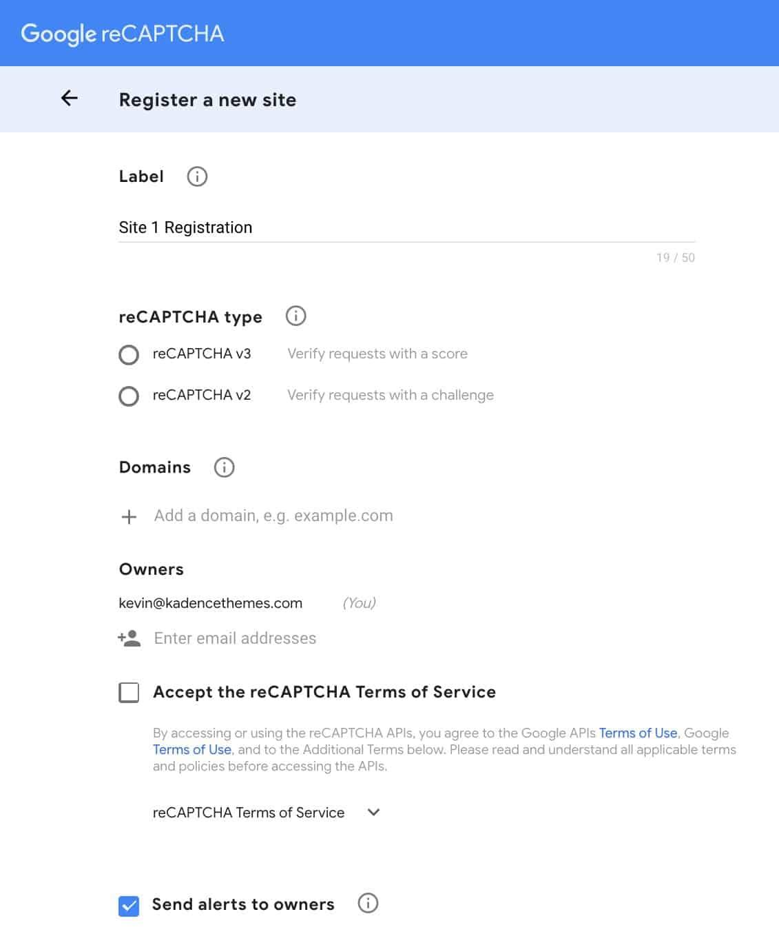 Configure reCaptcha API