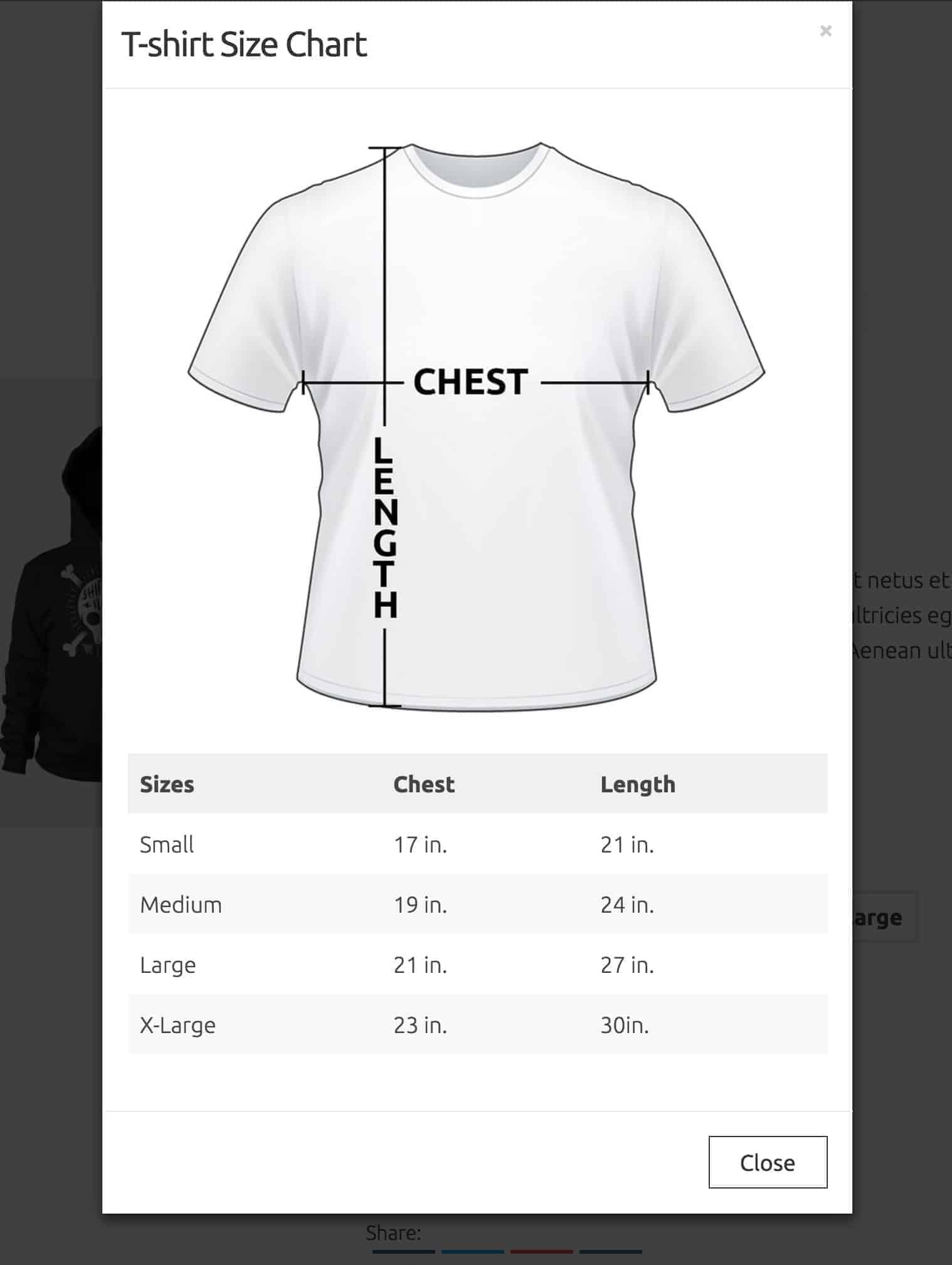 Size Chart Modal