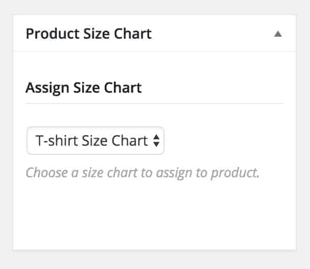 Assign Size Chart in Product