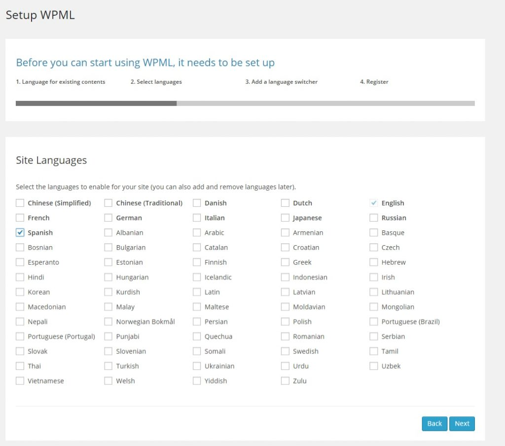 Languages options wpml