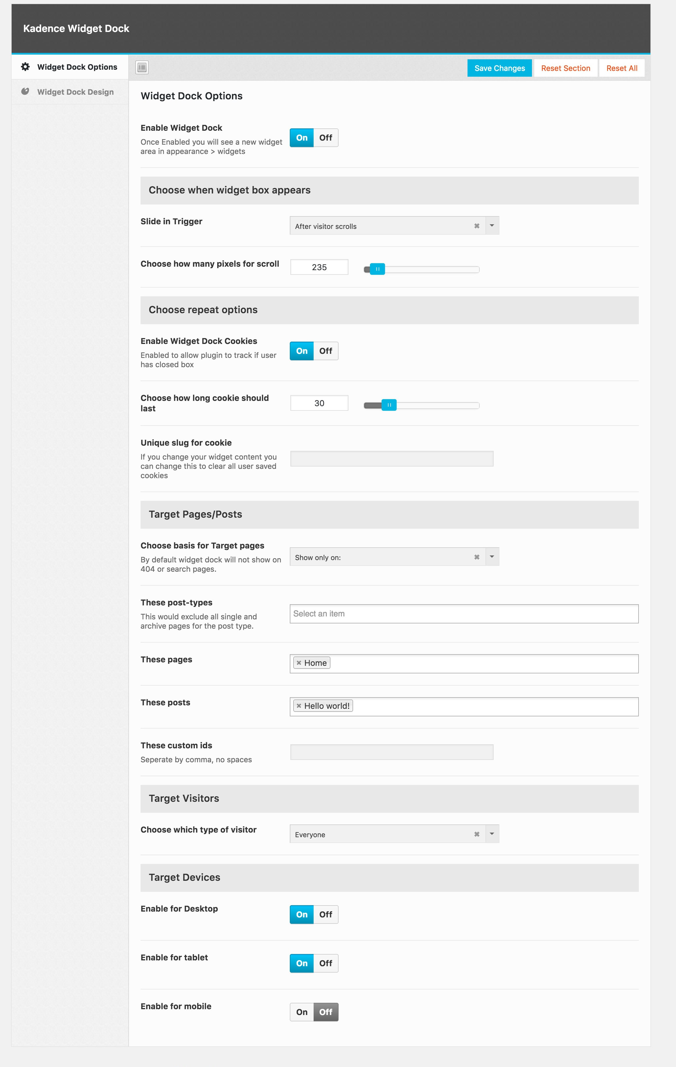 Kadence Widget Dock - WordPress - Kadence Themes