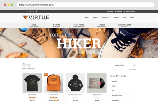 Virtue Premium Shop Layouts