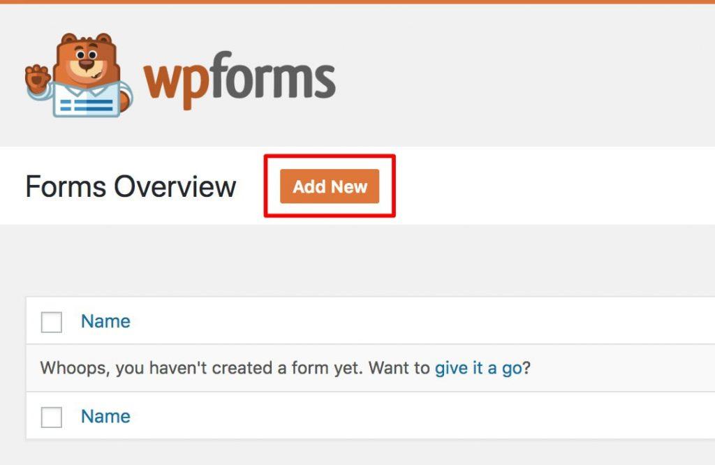 add-new-form-wpforms-kadence-themes