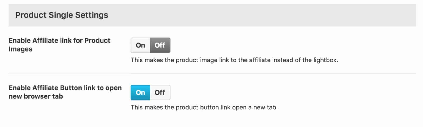 Affiliate Single Product Settings