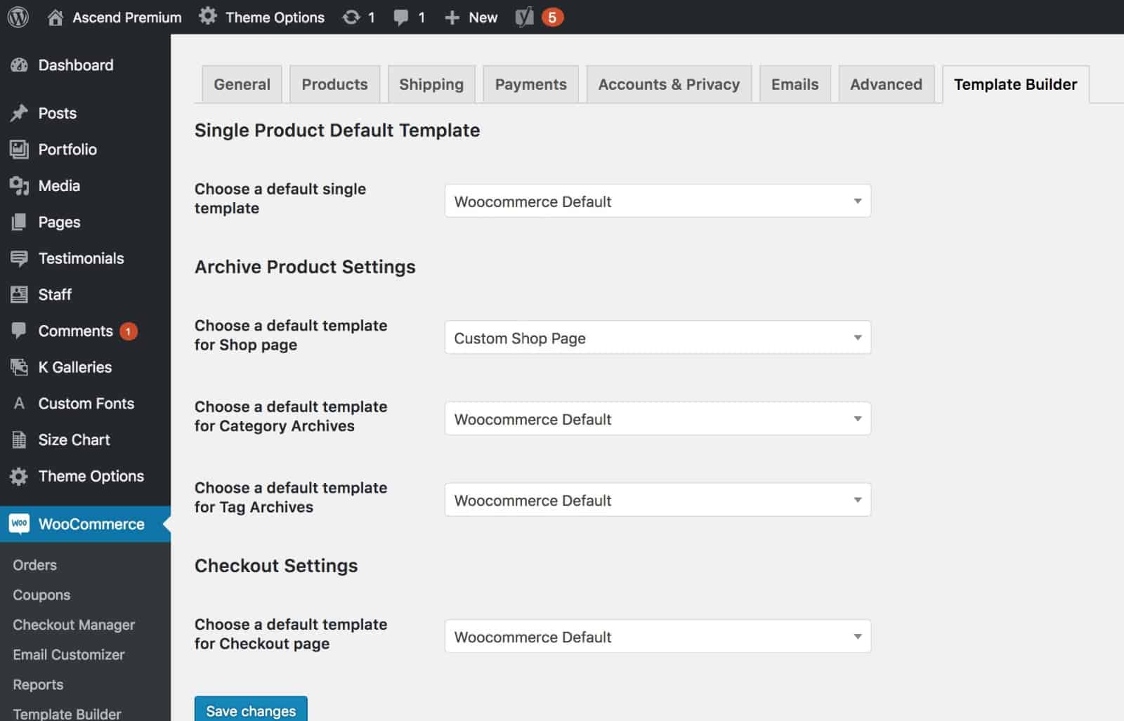 assign template elementor woocommerce