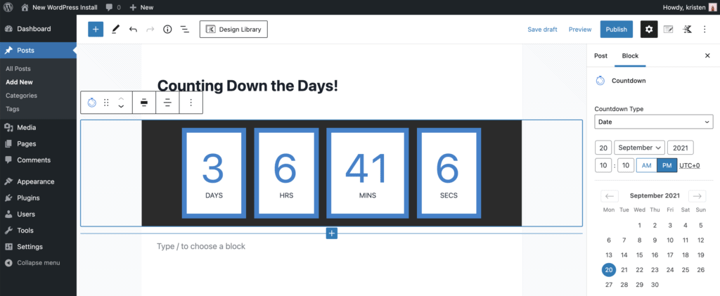 Customize countdown timer