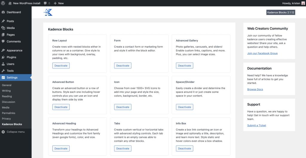 kadence blocks settings